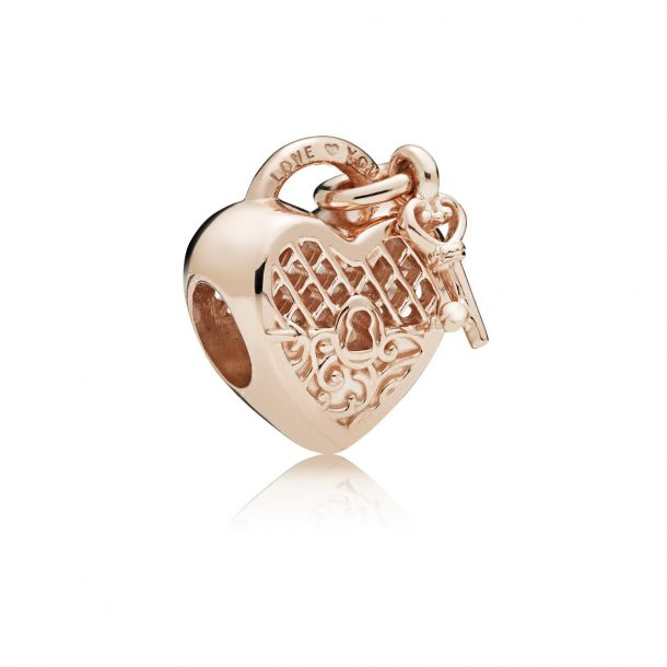 love you lock charm rose gold