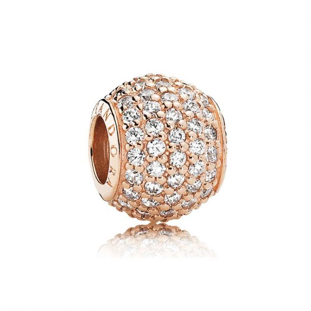 clear pave rose gold charm