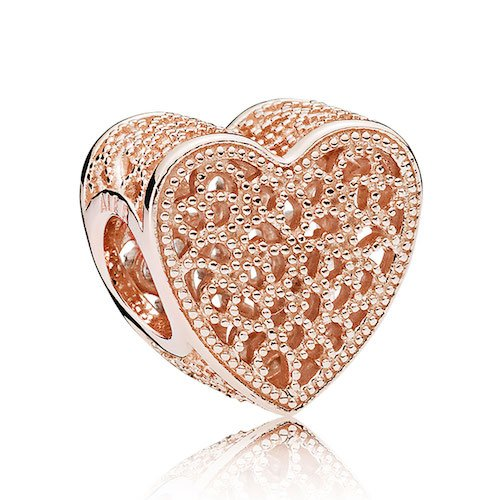 filled with romance heart charm rose gold
