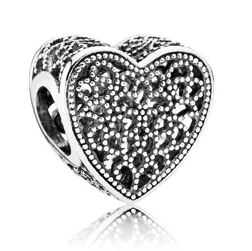 filled with romance heart charm