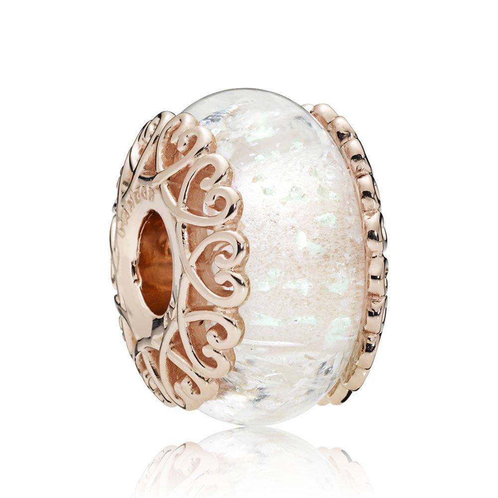 iridescent white glass rose gold charm