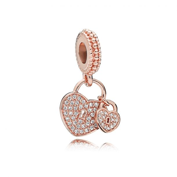 love locks dangle rose charm