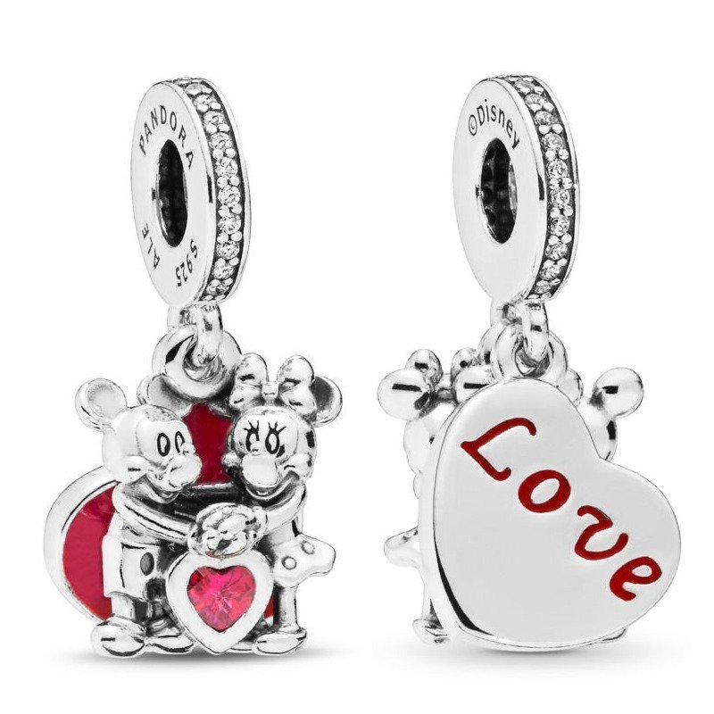 mickey and minnie with love charm