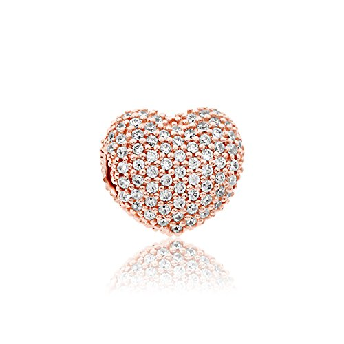 pave open my heart rose charm