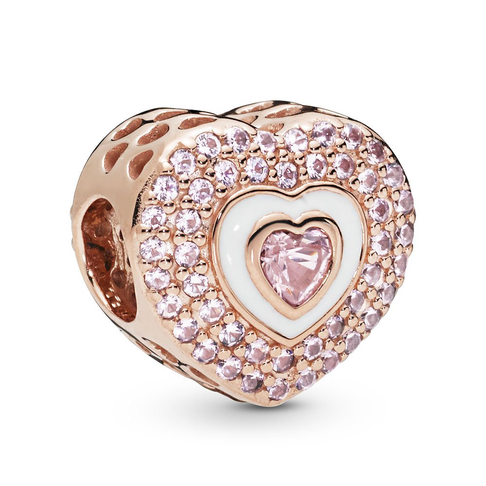 pink pave heart rose charm