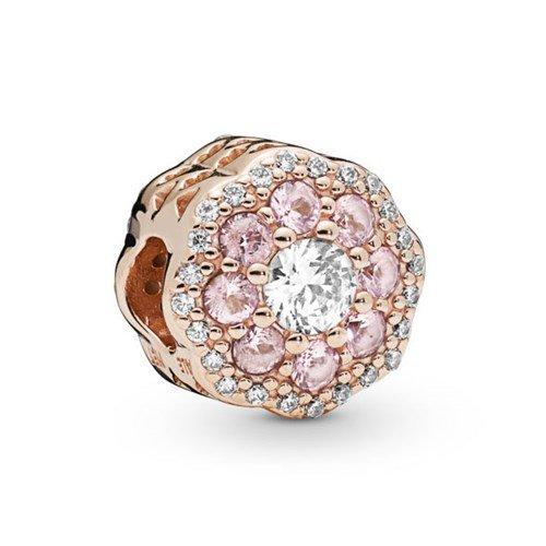 pink sparkle flowerrose gold charm