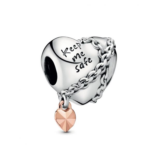 rose chained heart charm