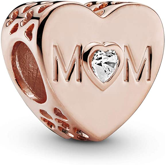 rose mom heart charm