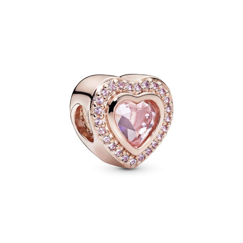 sparkling love rose charm