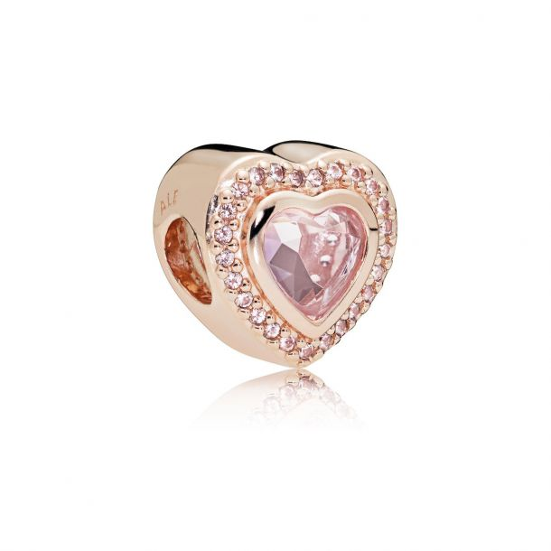 sparkling pink heart charm