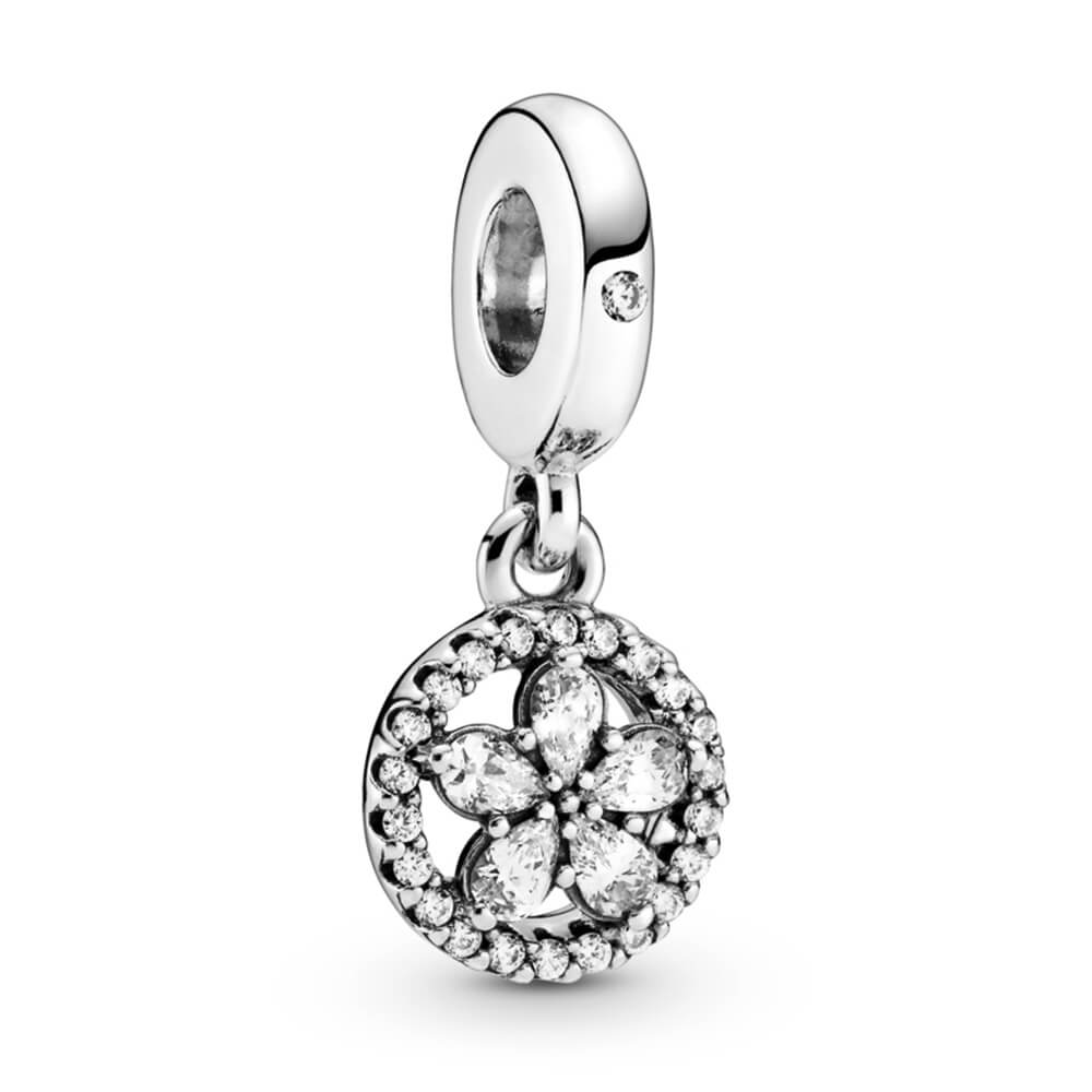 sparkling snowflake circle dangle charm