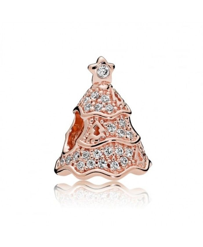 twinkling christmas tree rose gold charm