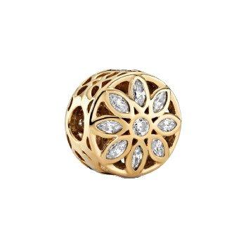 opulent flower 14k gold clip charm