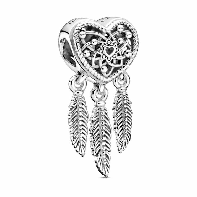 openwork heart and three feathers dreamcatcher charm
