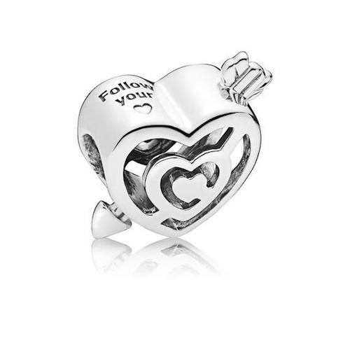 openwork heart labrinth and arrow charm