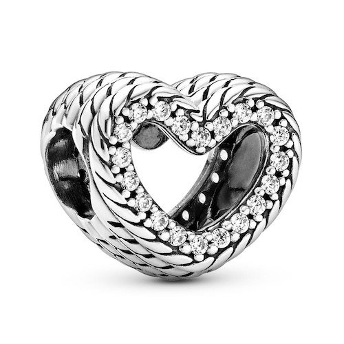 snake chain open heart charm