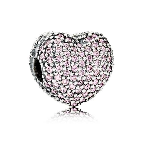 pink pave heart clip charm