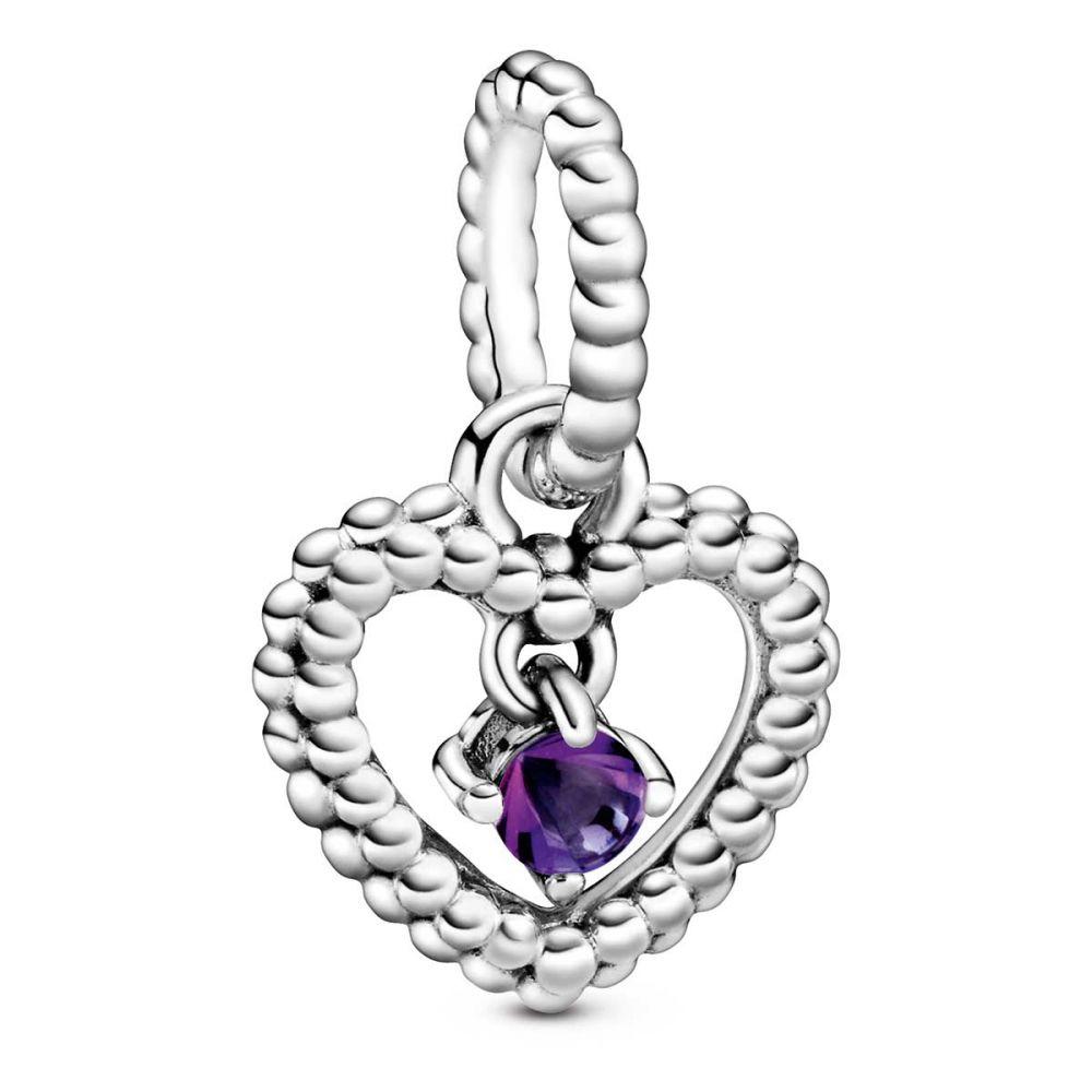 february purple beaded heart dangle charm