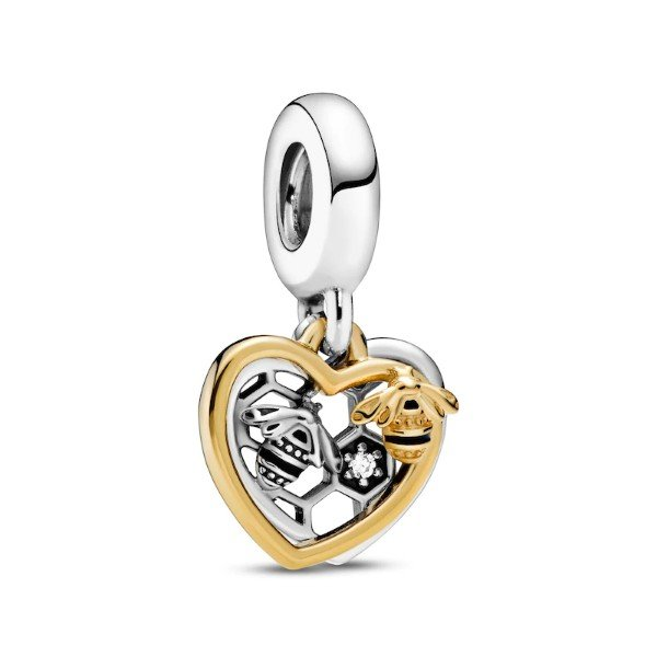 hearts and bees dangle charm