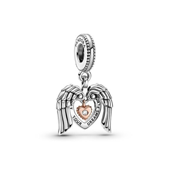 pandora club 2021 angel wings and heart dangle charm