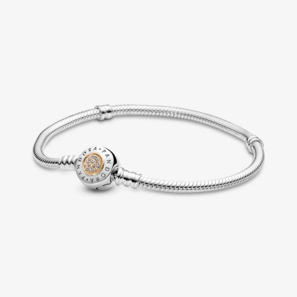 pandora moments logo clasp snake chain bracelet