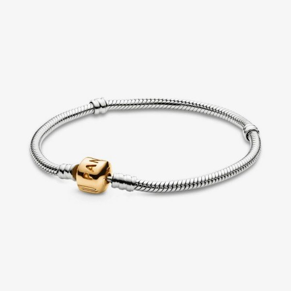 pandora moments snake chain two tone bracelet