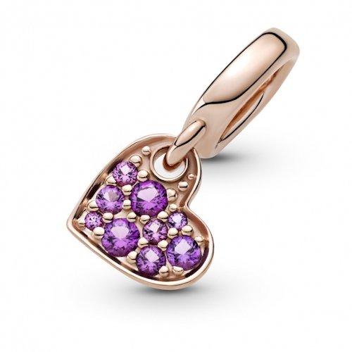 royal purple pave tilted heart dangle charm