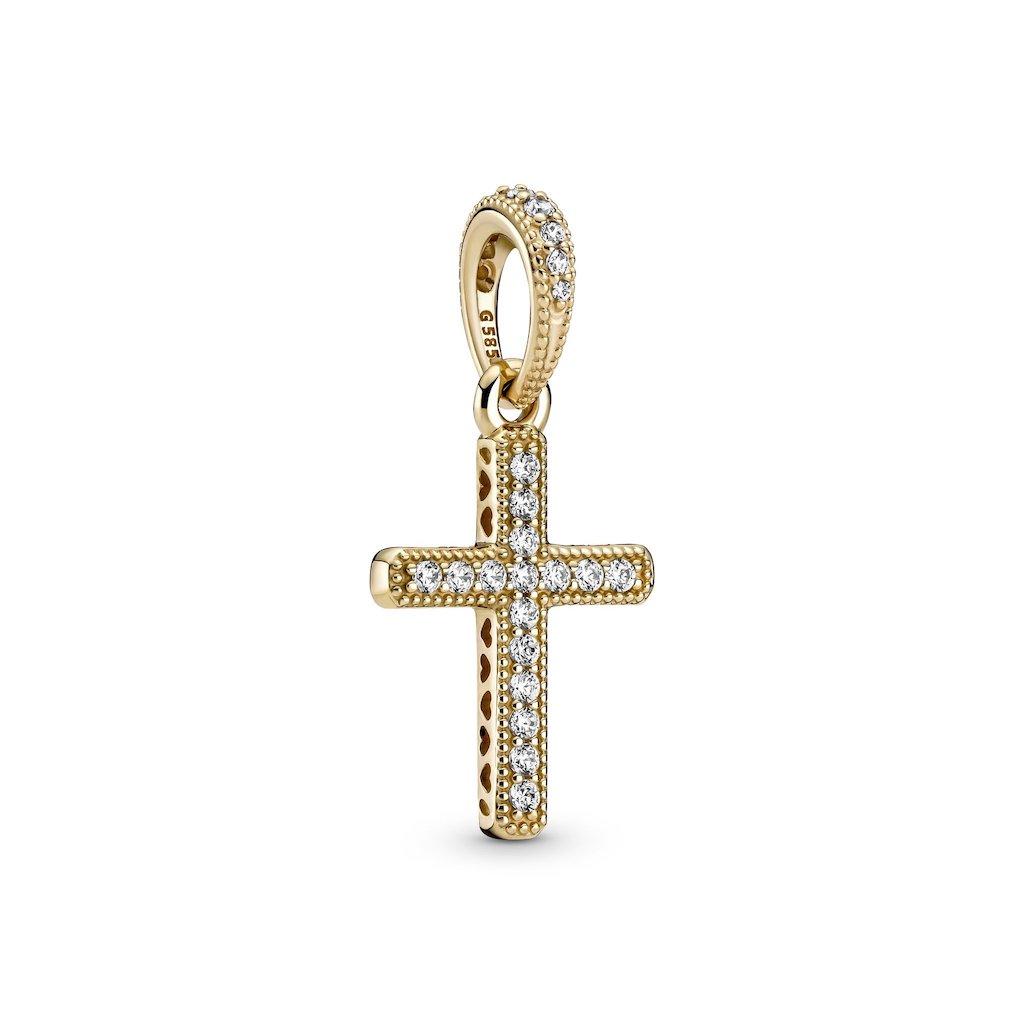 sparkling gold cross pendant