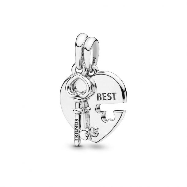 best friends heart and key pendant