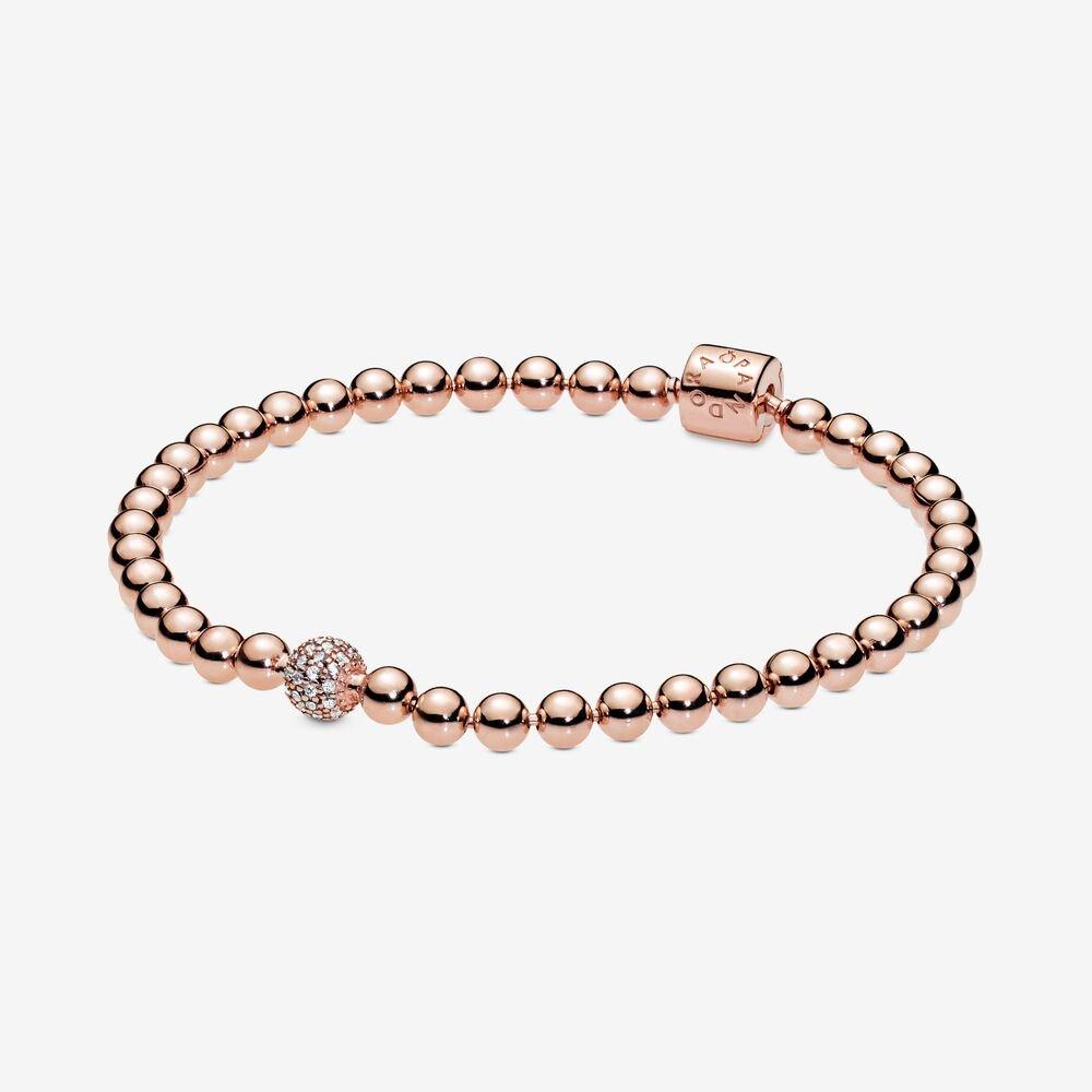 pandora beads and pave rose gold bracelet