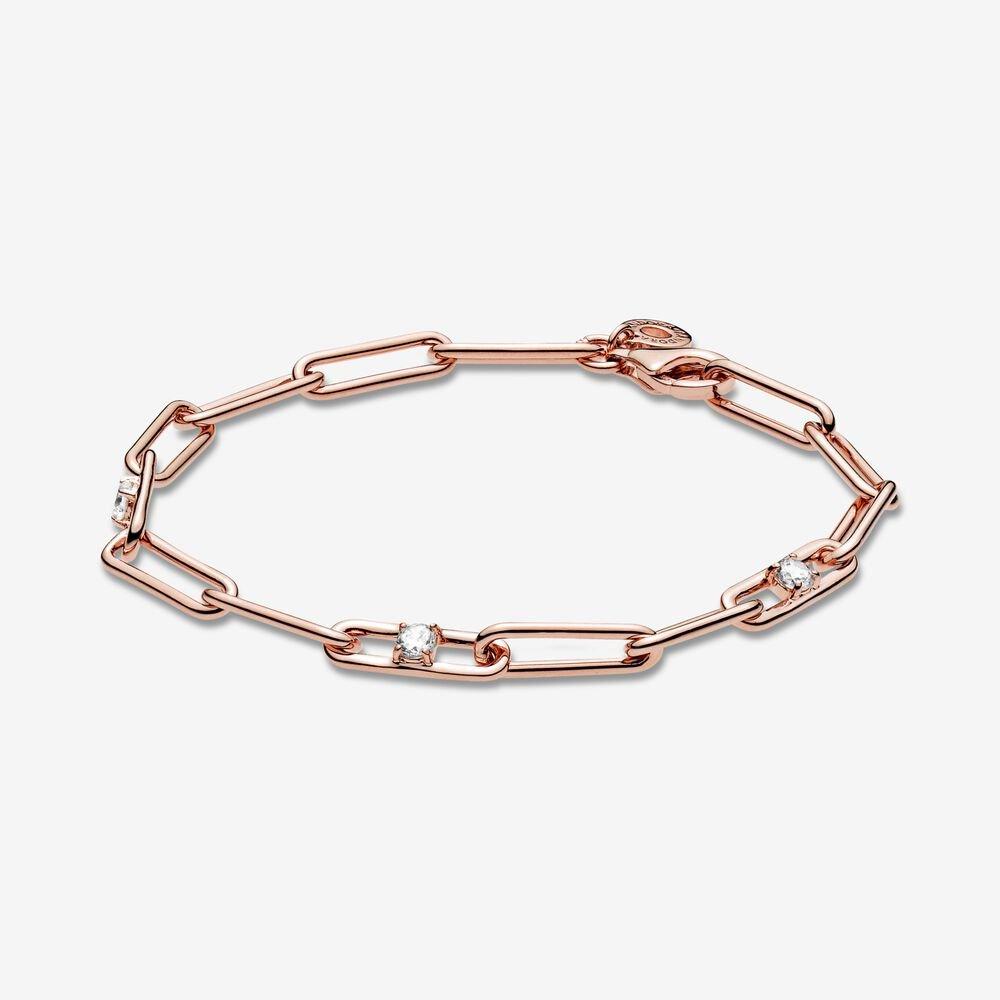 pandora link chain and stones rose gold bracelet