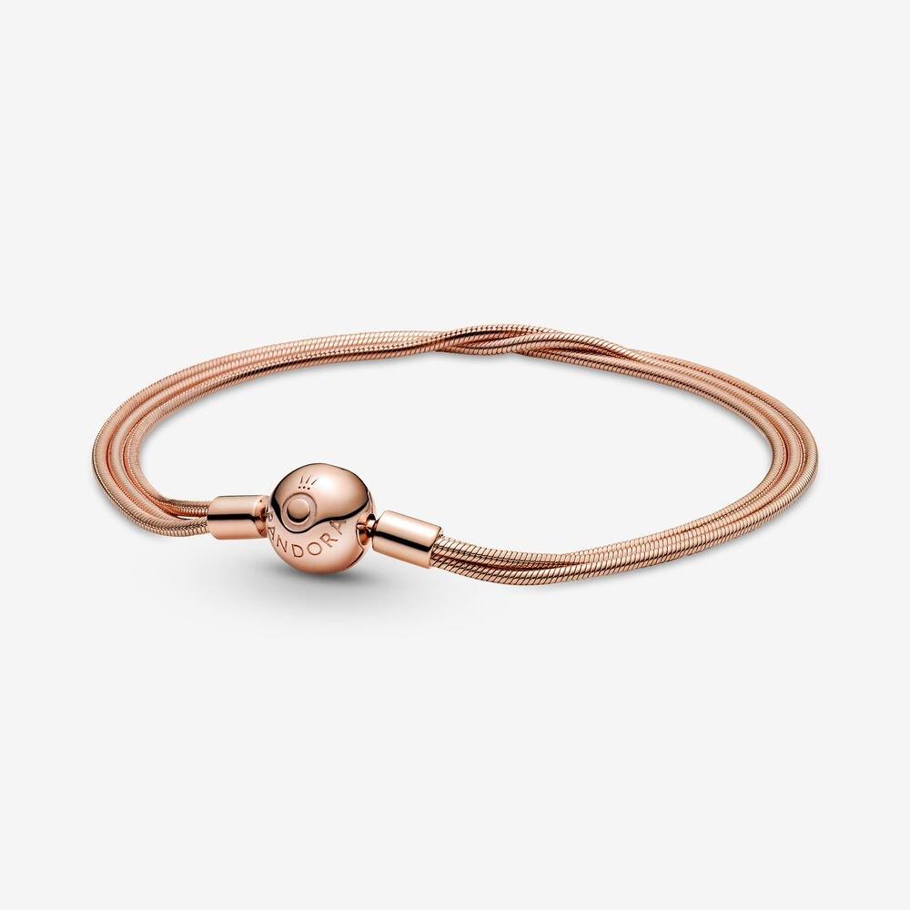 pandora moments rose gold multi snake chain bracelet