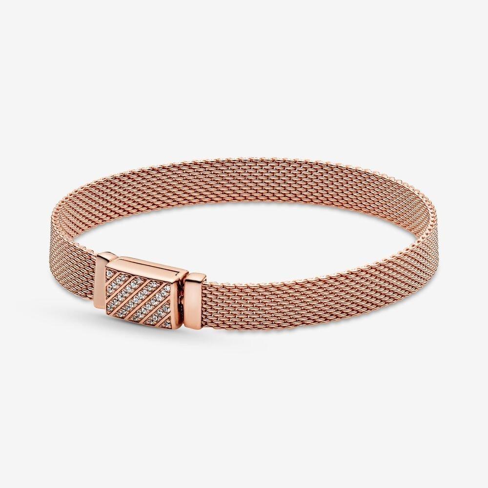pandora reflexions rose gold long clasp pave bracelet
