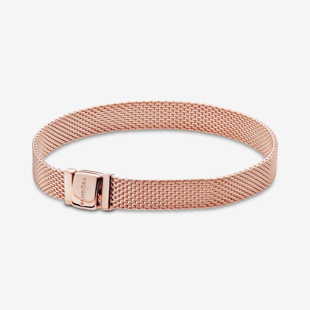 pandora reflexions rose gold mesh bracelet