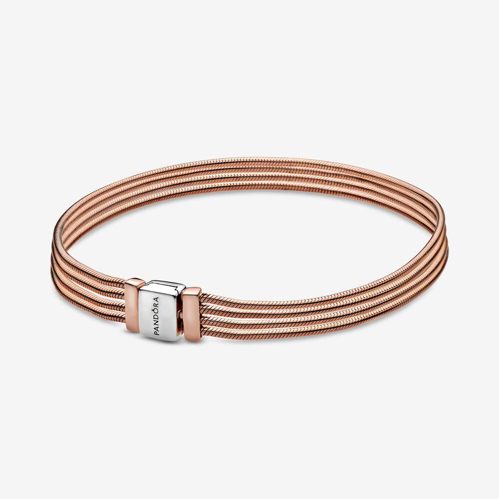 pandora reflexions rose gold multi snake chain bracelet