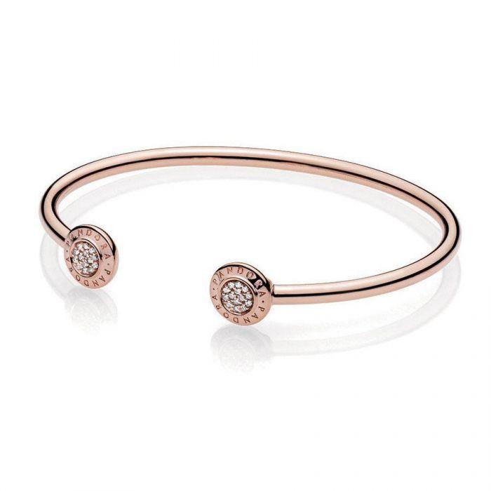 pandora signature 14k gold open bangle bracelet