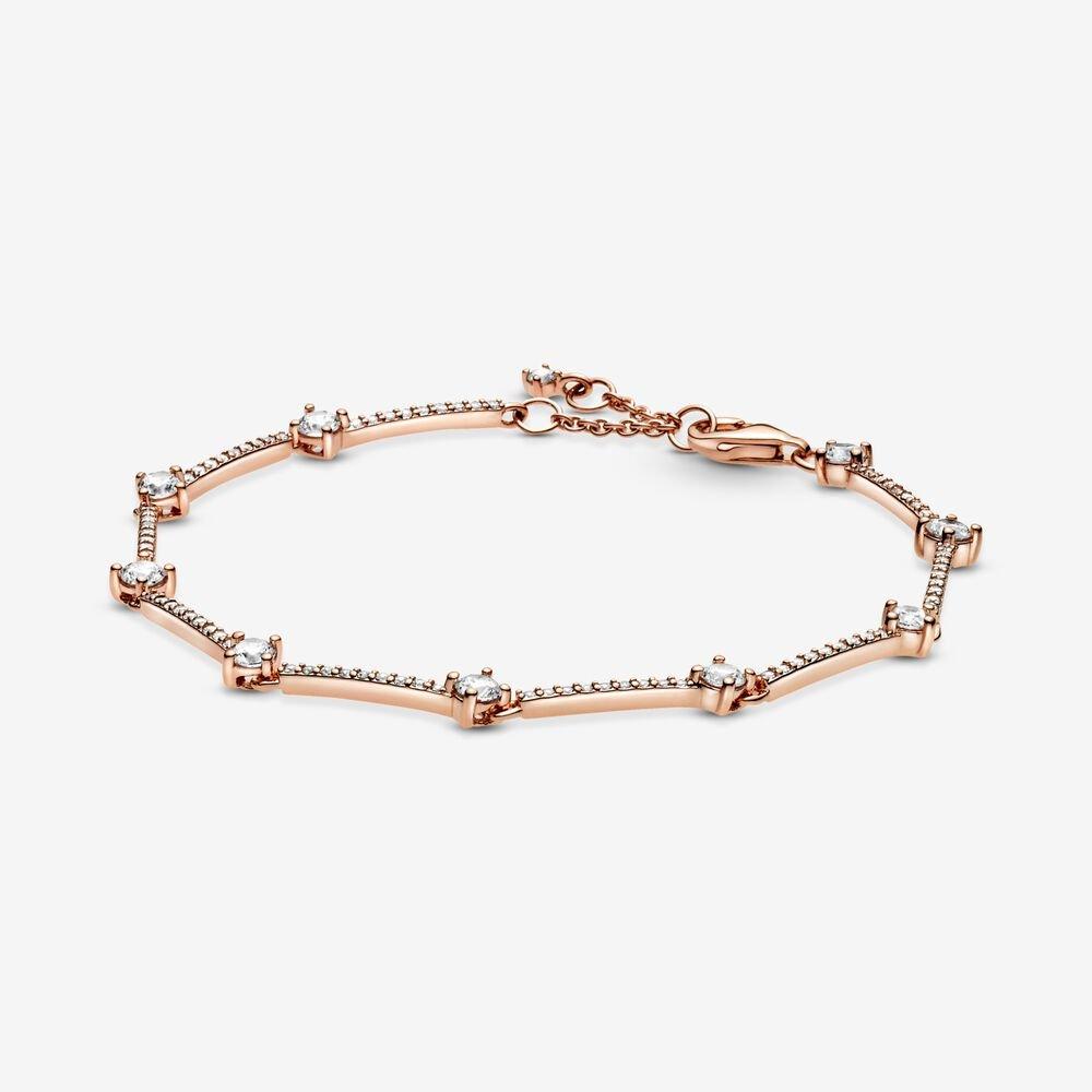 pandora sparkling pave rose gold bars bracelet